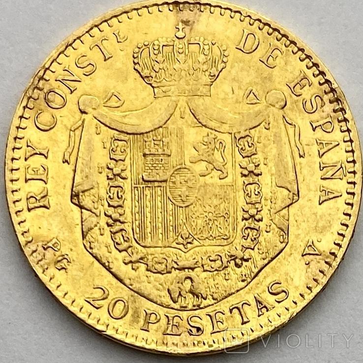 20 песет. 1887. Альфонсо XIII. Испания (золото 900, вес 6,46 г), фото №5