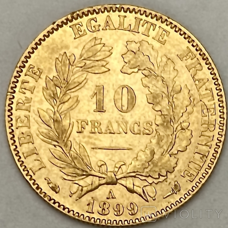 """10 франков. 1899. """"Революция"""" Франция (золото 900, вес 3,21 г), фото №3"""
