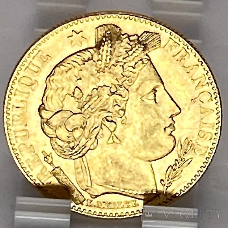 """10 франков. 1899. """"Революция"""" Франция (золото 900, вес 3,21 г), фото №9"""