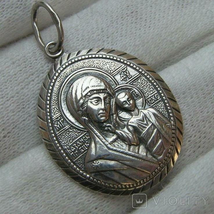 Серебряный Кулон Подвеска Образок Богородица Казанская Иисус Христос Серебро 925 проба 370, фото №2