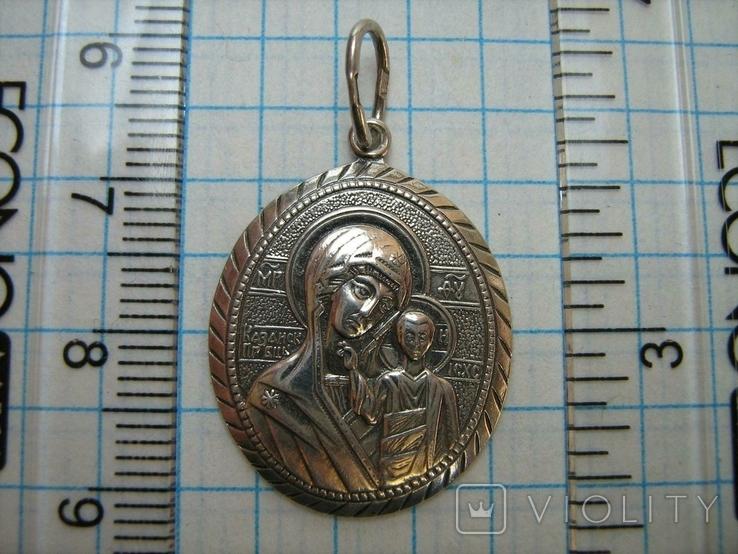 Серебряный Кулон Подвеска Образок Богородица Казанская Иисус Христос Серебро 925 проба 370, фото №4