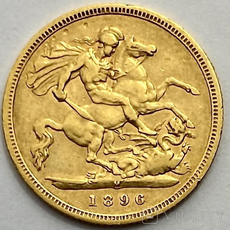 1/2 фунта (1/2 соверена). 1896. Виктория. Великобритания (золото 917, вес 3,92 г), фото №3
