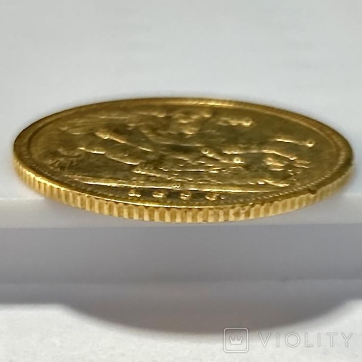 1/2 фунта (1/2 соверена). 1896. Виктория. Великобритания (золото 917, вес 3,92 г), фото №4