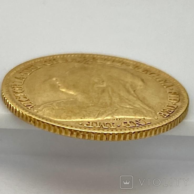 1/2 фунта (1/2 соверена). 1896. Виктория. Великобритания (золото 917, вес 3,92 г), фото №6