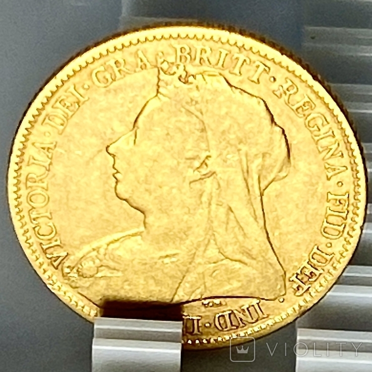 1/2 фунта (1/2 соверена). 1896. Виктория. Великобритания (золото 917, вес 3,92 г), фото №8
