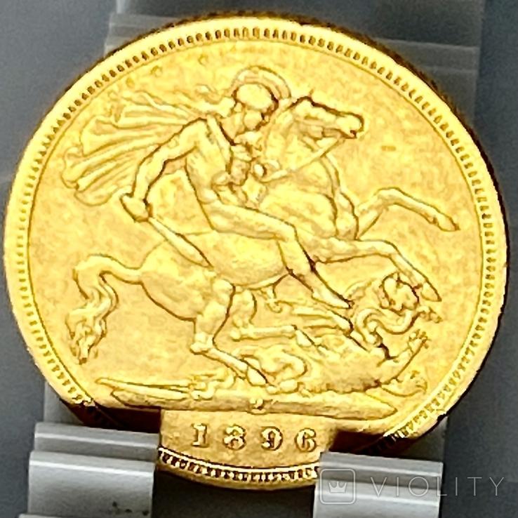 1/2 фунта (1/2 соверена). 1896. Виктория. Великобритания (золото 917, вес 3,92 г), фото №9