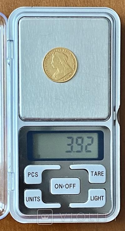 1/2 фунта (1/2 соверена). 1896. Виктория. Великобритания (золото 917, вес 3,92 г), фото №10