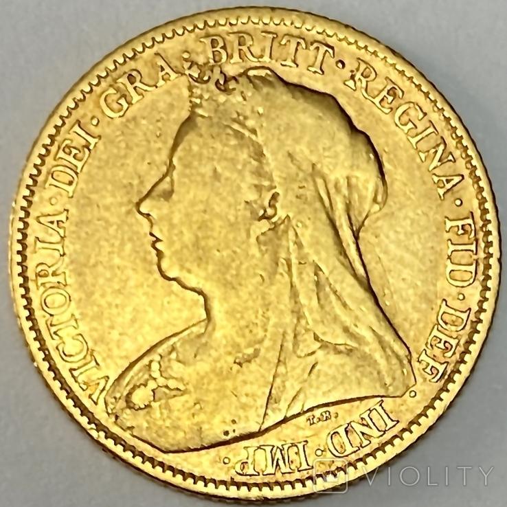 1/2 фунта (1/2 соверена). 1896. Виктория. Великобритания (золото 917, вес 3,92 г), фото №11