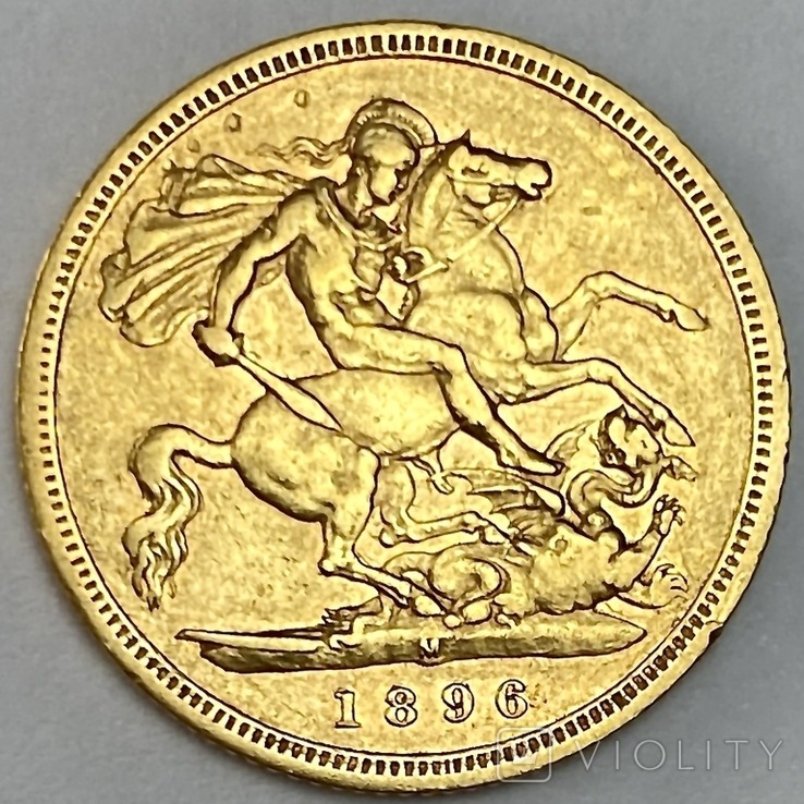 1/2 фунта (1/2 соверена). 1896. Виктория. Великобритания (золото 917, вес 3,92 г), фото №12