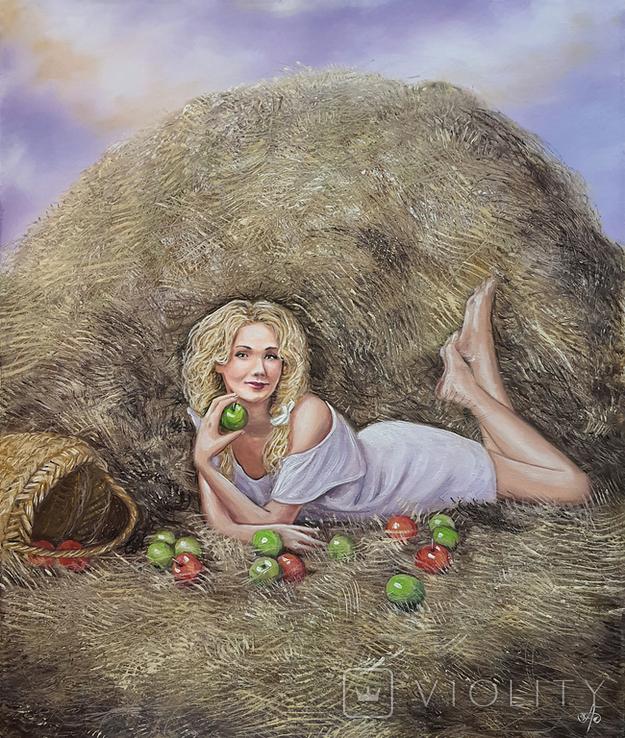 Картина, Дівчина з яблуком, 50х60 см. Живопис на полотні, фото №4