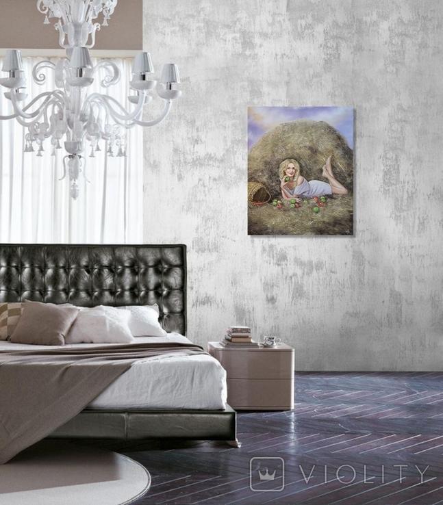 Картина, Дівчина з яблуком, 50х60 см. Живопис на полотні, фото №6