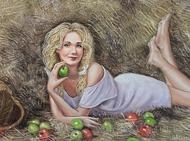 Картина, Дівчина з яблуком, 50х60 см. Живопис на полотні, фото №7