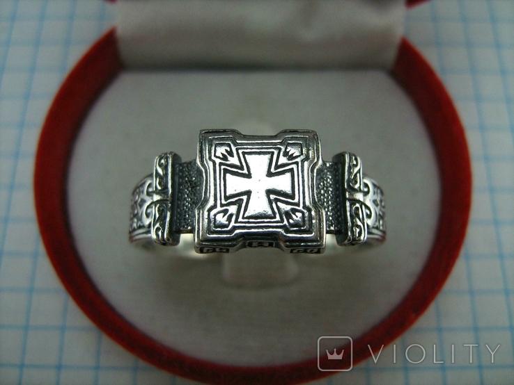 Серебряное Кольцо Перстень Размер 22.75 Мальтийский Крест Молитва 925 проба Серебро 513, фото №3