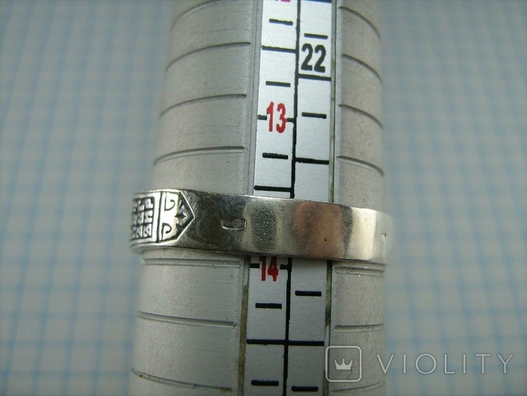 Серебряное Кольцо Перстень Размер 22.75 Мальтийский Крест Молитва 925 проба Серебро 513, фото №8