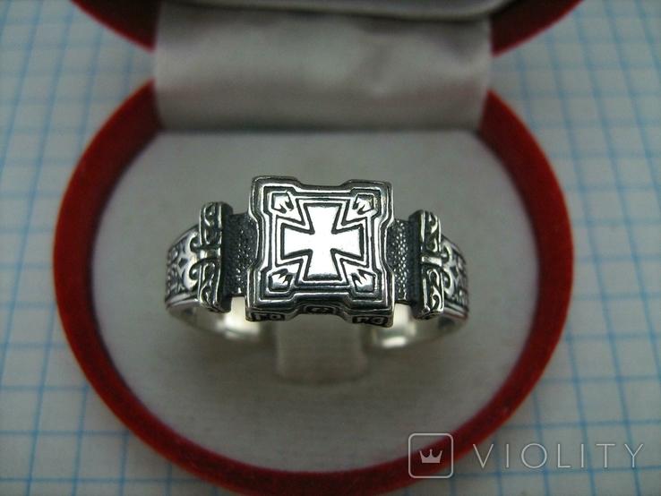 Новое Серебряное Кольцо Перстень Размер 23.0 Мальтийский Крест 925 проба Серебро 515, фото №3