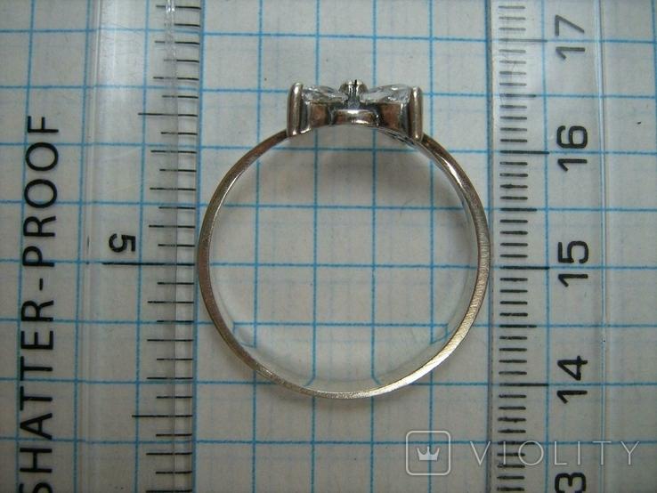 Серебряное Кольцо Размер 21.25 Крест Белые Камни Молитва 925 проба Серебро 504, фото №5