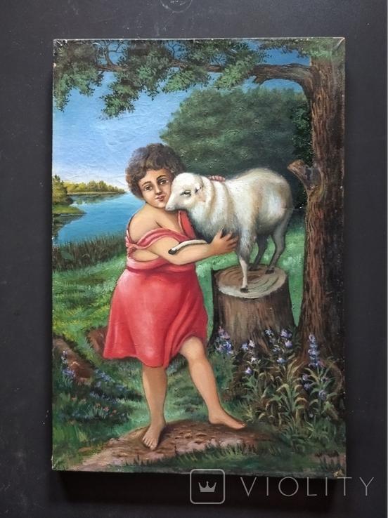 ''Агнец - девушка ''. х.м. 60х40 см. Н.Х. Копия., фото №2