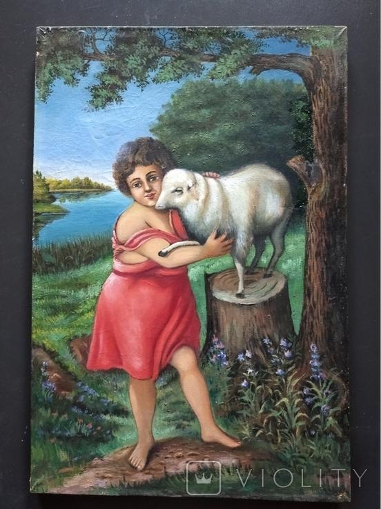 ''Агнец - девушка ''. х.м. 60х40 см. Н.Х. Копия., фото №3
