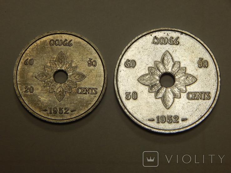 20 и 50 центов, Лаос, 1952 г, фото №2