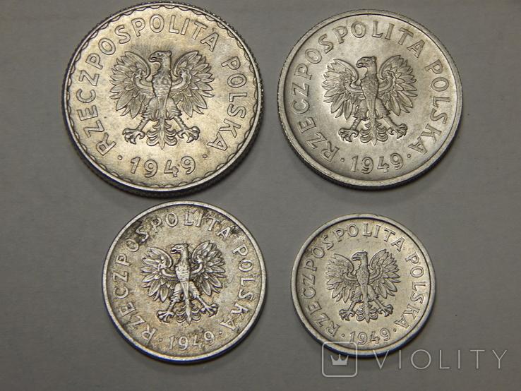 4 монеты Польши, 1949 г, фото №3