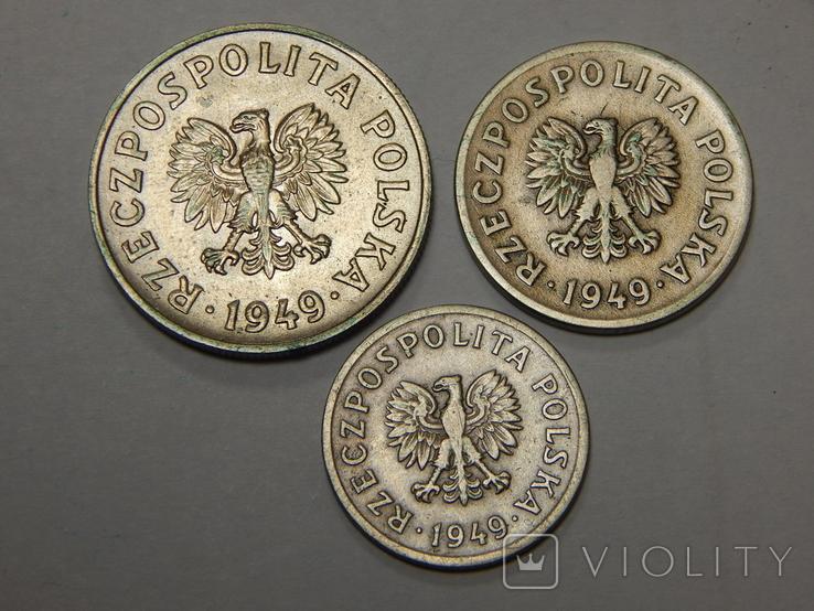 3 монеты Польши, 1949 г, фото №3