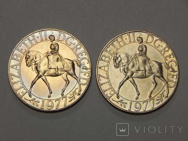 2 монеты по 1 кроне, Великобритания, 1977 г, фото №2