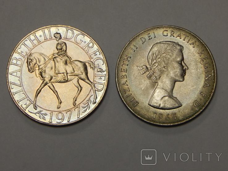 2 монеты по 1 кроне, Великобритания, 1965/77 г.г., фото №3