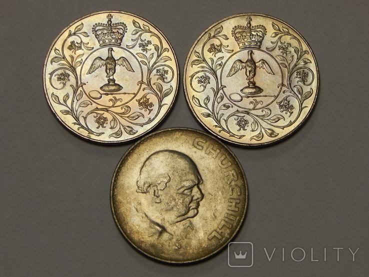3 монеты по 1 кроне, 1965/77 г.г. Великобритания, фото №2