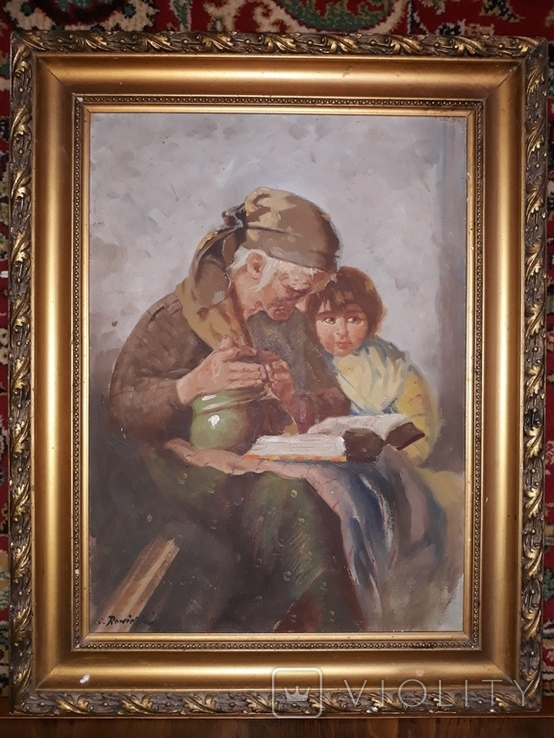 Бабуся з онучкою, художник Людвік Ровінскі, перша половина 20 століття, фото №3