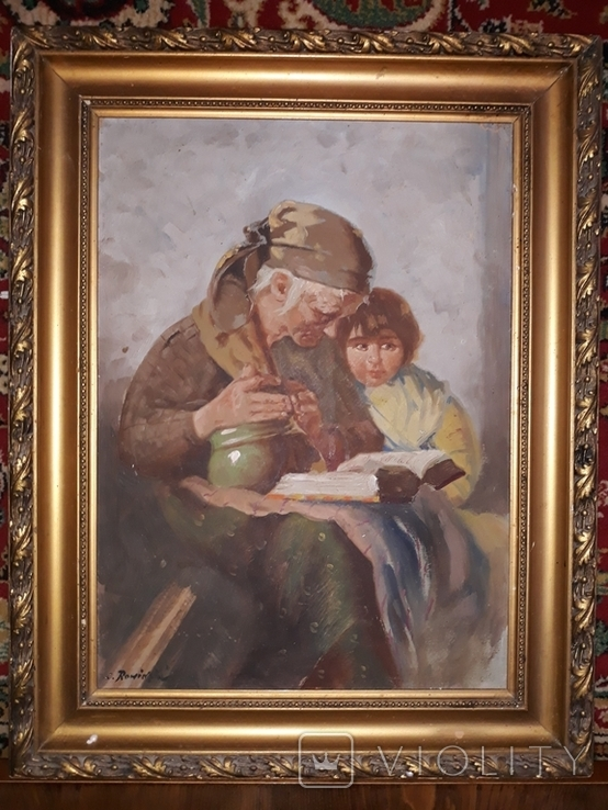 Бабуся з онучкою, художник Людвік Ровінскі, перша половина 20 століття, фото №4