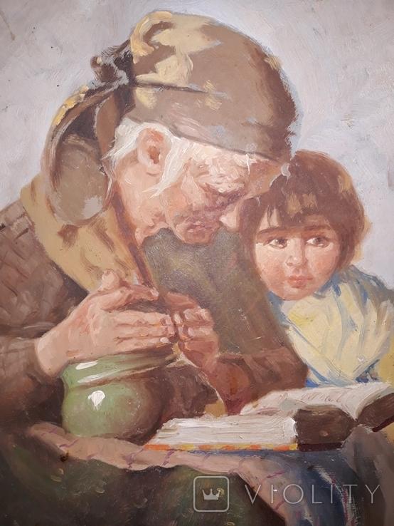 Бабуся з онучкою, художник Людвік Ровінскі, перша половина 20 століття, фото №5