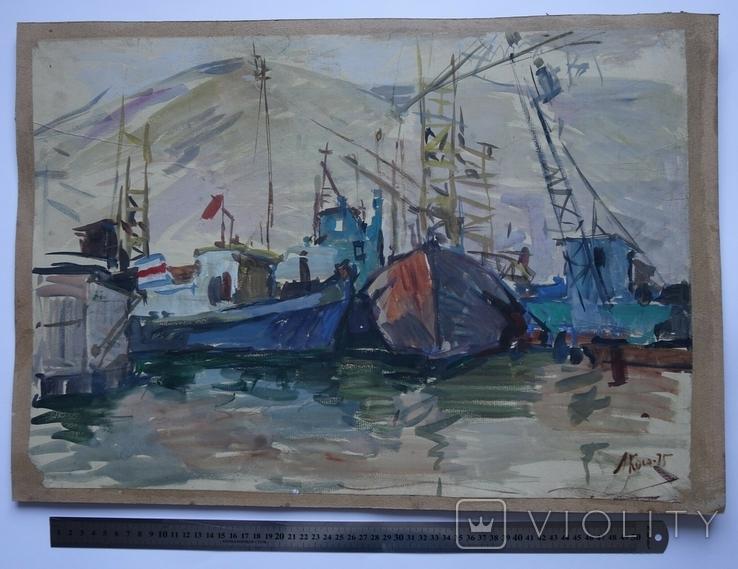 Порт Корабли Акварель с подписью 1975, 55,5 на 39 см., фото №2