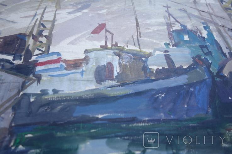 Порт Корабли Акварель с подписью 1975, 55,5 на 39 см., фото №8