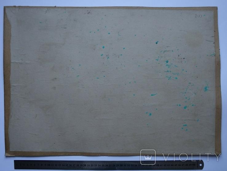 Порт Корабли Акварель с подписью 1975, 55,5 на 39 см., фото №9