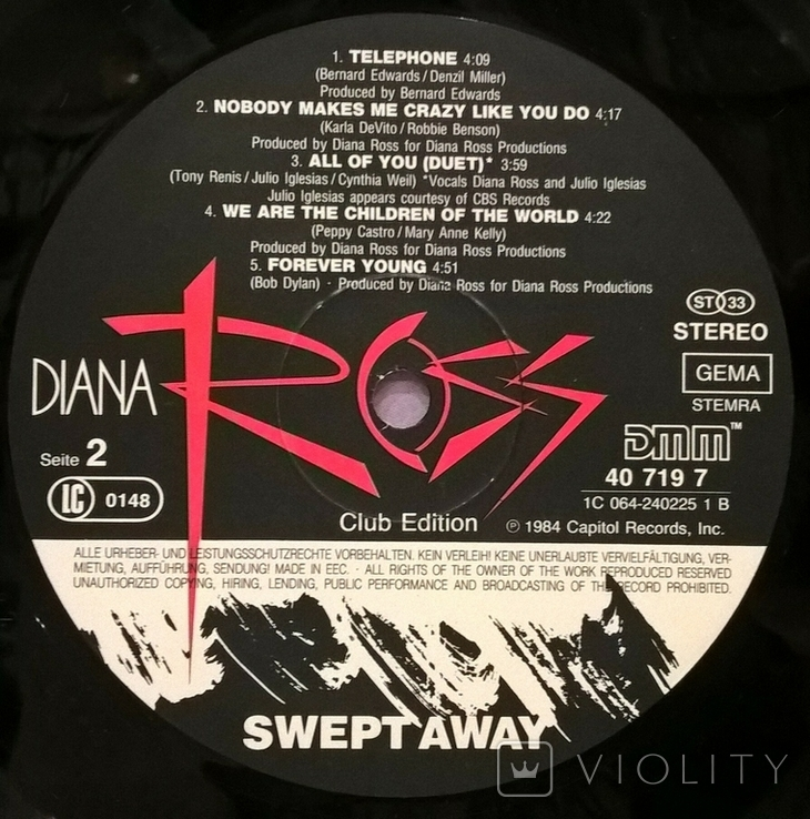 Diana Ross - Swert Away - 1984. (LP). 12. Vinyl. Пластинка. Holland. Club Edition., фото №7