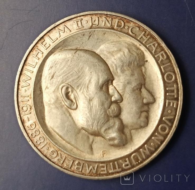 3 марки 1911 р. Вюртемберг. Весільна, фото №3