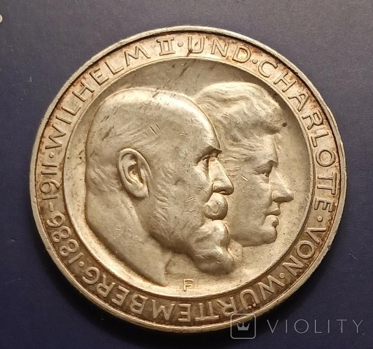 3 марки 1911 р. Вюртемберг. Весільна, фото №4