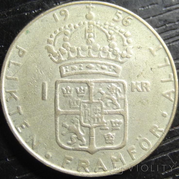 1 крона Швеція 1956 срібло, фото №2