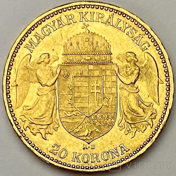 20 крон. 1893. Франц Иосиф I. Венгрия (золото 900, вес 6,77 г), фото №3