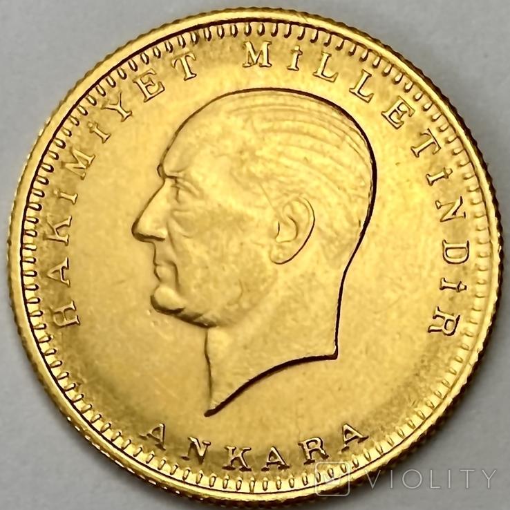 100 куруш. 1970. Турция (золото 917, вес 7,24 г), фото №2
