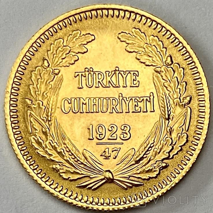 100 куруш. 1970. Турция (золото 917, вес 7,24 г), фото №3