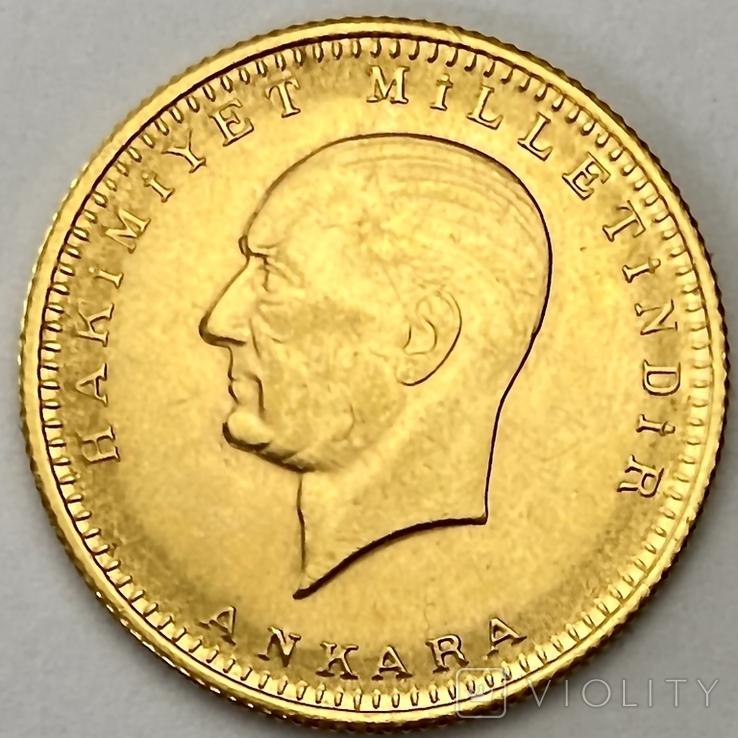 100 куруш. 1970. Турция (золото 917, вес 7,24 г), фото №4