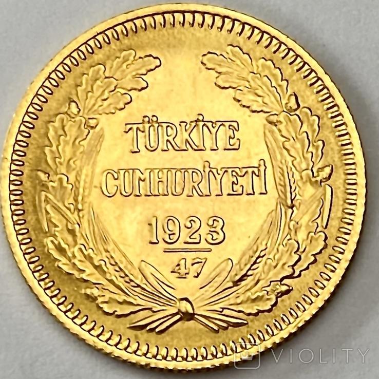 100 куруш. 1970. Турция (золото 917, вес 7,24 г), фото №5