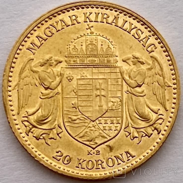 20 корон. 1912. Франц Иосиф I. Австро-Венгрия (золото 900, вес 6,80 г), фото №5