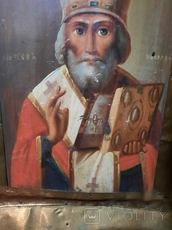 Икона Николай 51х46х10 см, фото №4