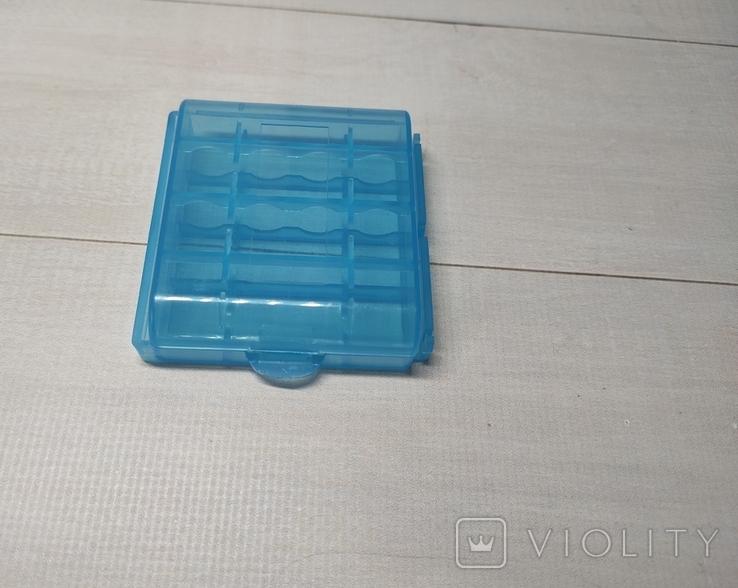 Коробка, бокс, кейс, Футляр для пальчиковых батареек АА или мини ААА Голубой