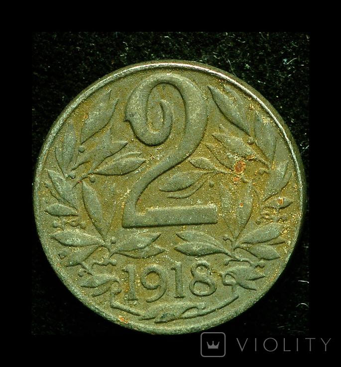 Австрия 2 геллера 1918 железо, фото №2