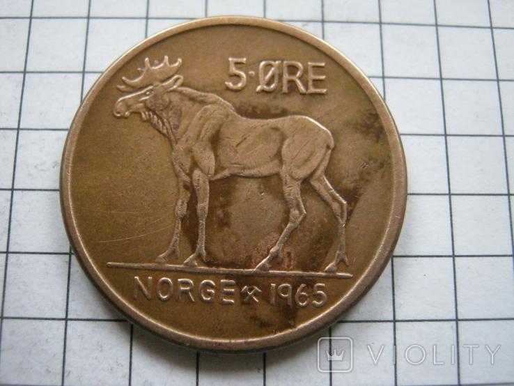 Норвегия 5 эре 1965 года, фото №2