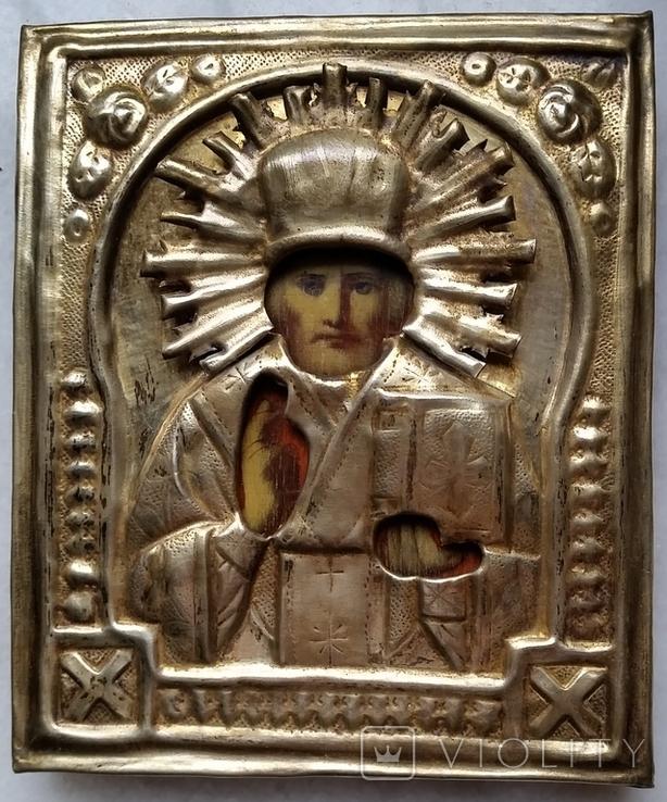 Ікона Микола Чудотворець, латунь 13,3х11,2 см, кіот, фото №5