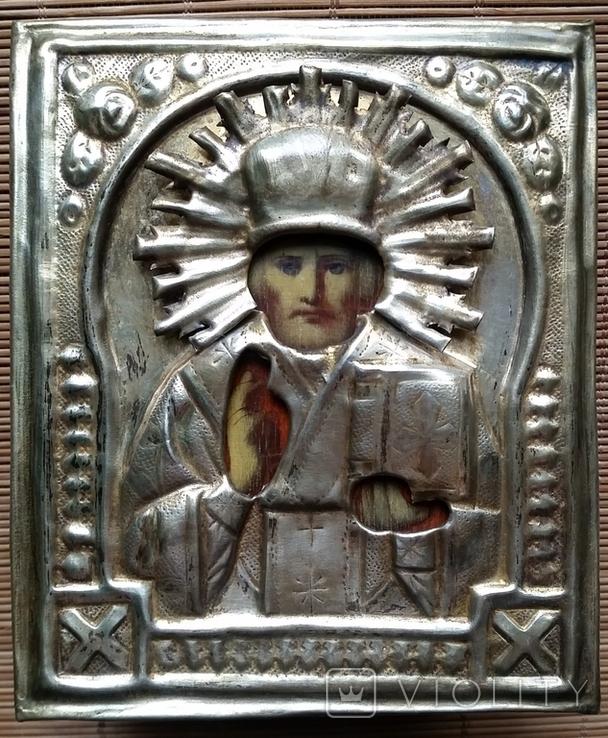 Ікона Микола Чудотворець, латунь 13,3х11,2 см, кіот, фото №6